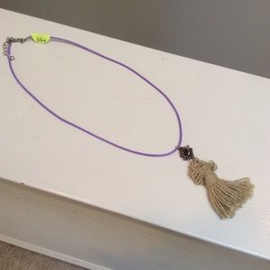 925 Silver stone & Artisan Tassel Necklace